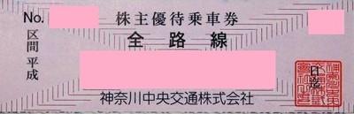 神奈川中央交通(神奈中)株主優待券