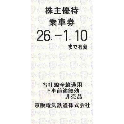 京阪電鉄株主優待券