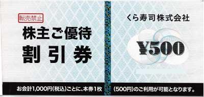 くらコーポレーション株主優待券