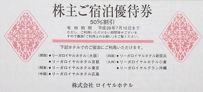 ロイヤルホテル株主優待券