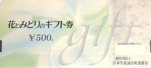 花とみどりのギフト券 500円