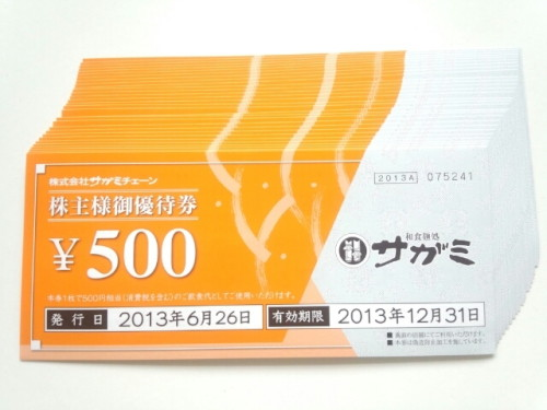 サガミホールディングス 株主優待 500円×30枚綴り