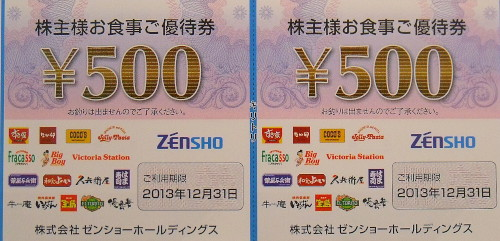ゼンショー・ココス・ジョリーパスタ 株主優待券 500円