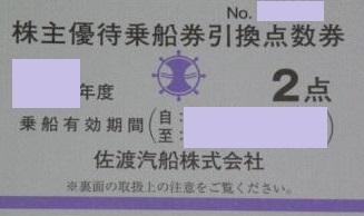 佐渡汽船 株主優待券 2点券