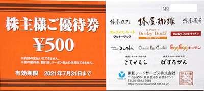 東和フードサービス 株主優待券 500円