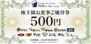 物語コーポレーション 株主優待券 500円