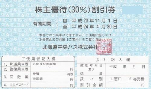 北海道中央バス 株主優待券 (優待割引券15枚綴)