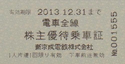 新京成電鉄 株主優待乗車証(有効期限12月末迄)