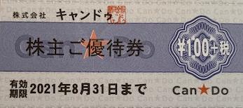 キャンドゥ株主優待券 100円+税