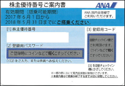 ANA株主優待券(2019年6月1日~2020年11月30日有効) ブルー