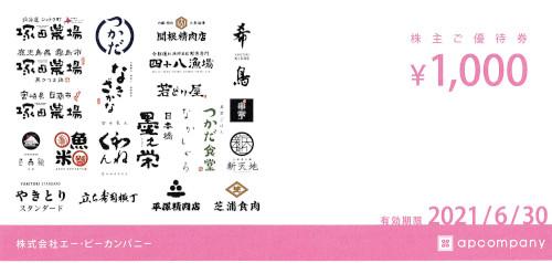 エーピーカンパニー 株主優待券 1,000円