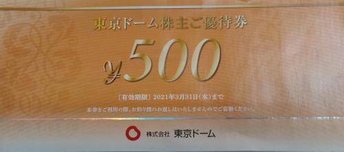 東京ドーム 株主優待券 500円 (東京ドームシティ利用券)