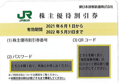 JR東日本株主優待券(2021年6月1日~2022年5月31日)